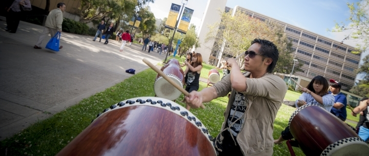 Revelle students playing drum